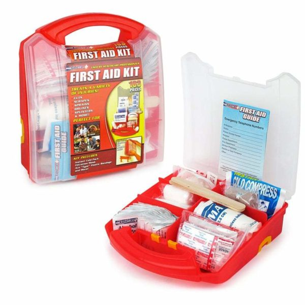 183 Piece First Aid Kit open to show contents