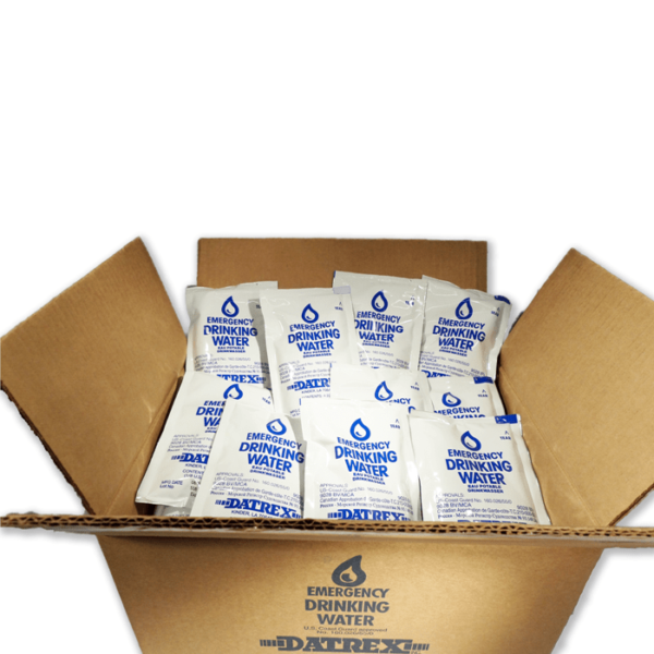 Box illustrating all 36 Pouches of Drinking Water for Emergencies or Camping and other Outdoor Activities