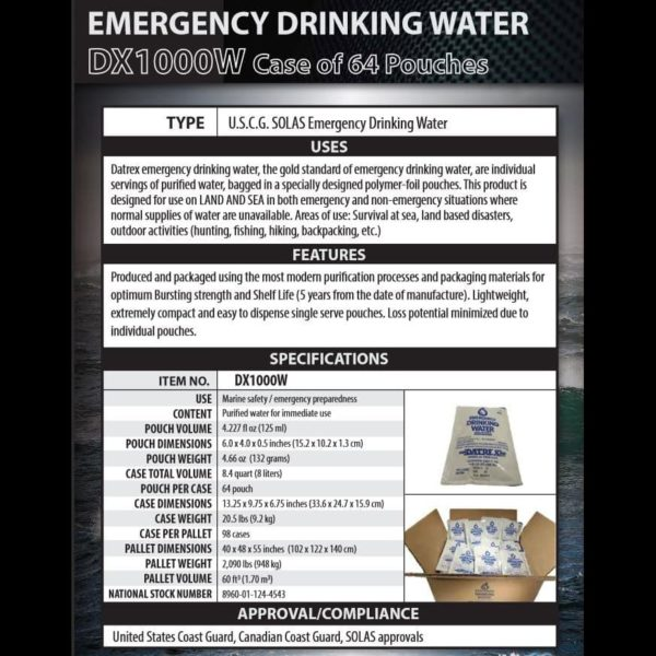Datrex Emergency Water Specifications Data Sheet