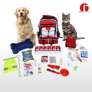 Pet Survival Kits Illustrating all of the Products in the Kit along with the Red Backpack