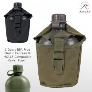 Rothco G.I. 1 Qt. Plastic Canteen and MOLLE Compatible Cover Pouch