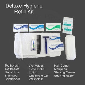 Deluxe Hygiene Kit showing all of the Products for the Survival Kit