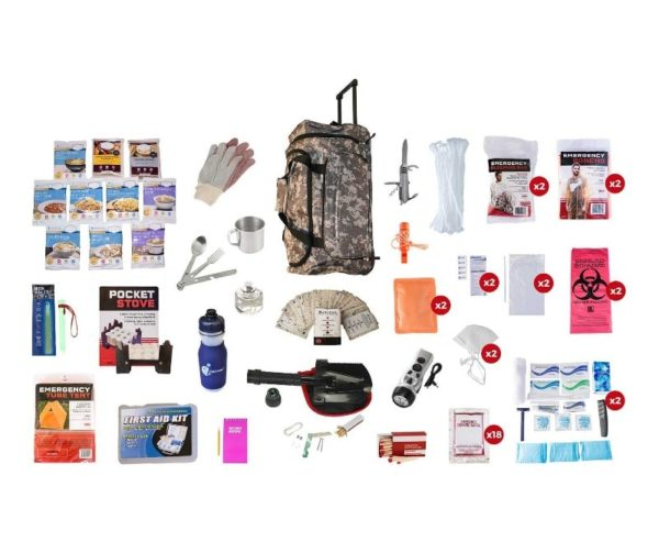 Food Storage Survival Kit in a Camo Wheel Duffel Bag with Extra Materials