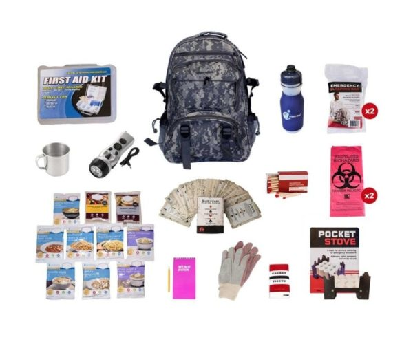 Food Storage Survival Kit in a Camo Backpack