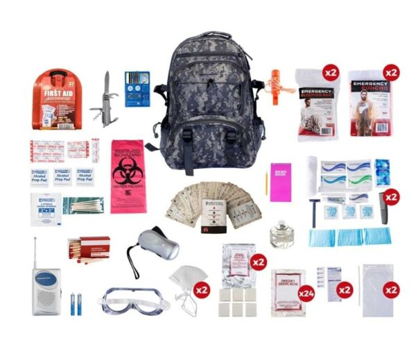2 Person Deluxe Survival Kit (72+ Hours) - CAMO Backpack