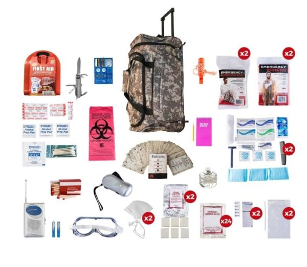2 Person Deluxe Survival Kit (72+ Hours) - CAMO Wheel Bag